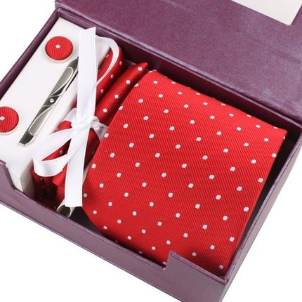 Комплект: галстук, запонки, платок, зажим красный в горошек