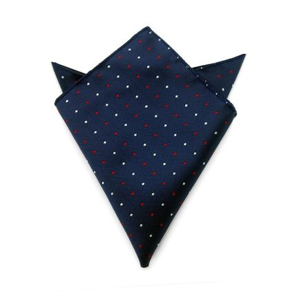 Нагрудный платок синий в красно-белый горошек