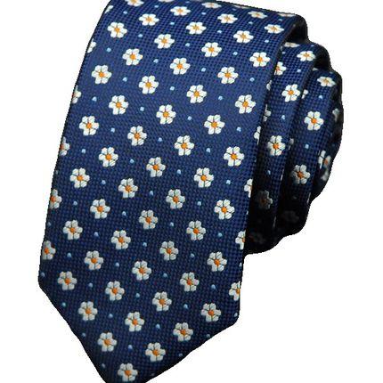 Галстук в цветочек синий