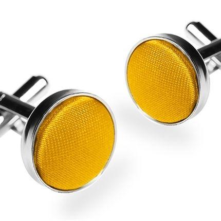 Запонки однотонные ярко-желтые