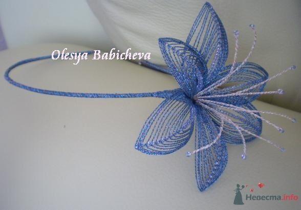 """Обруч для волос """"Бирюзовый цветок"""" - фото 33247 Алисик"""