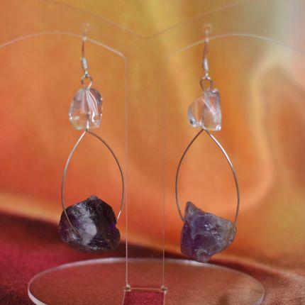 Серебряные серьги с аметистом и горным хрусталем ′Нибиру′