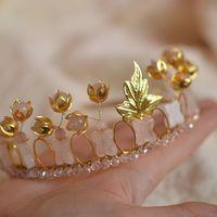 "Корона, диадема из розового кварца ""Офелия"""