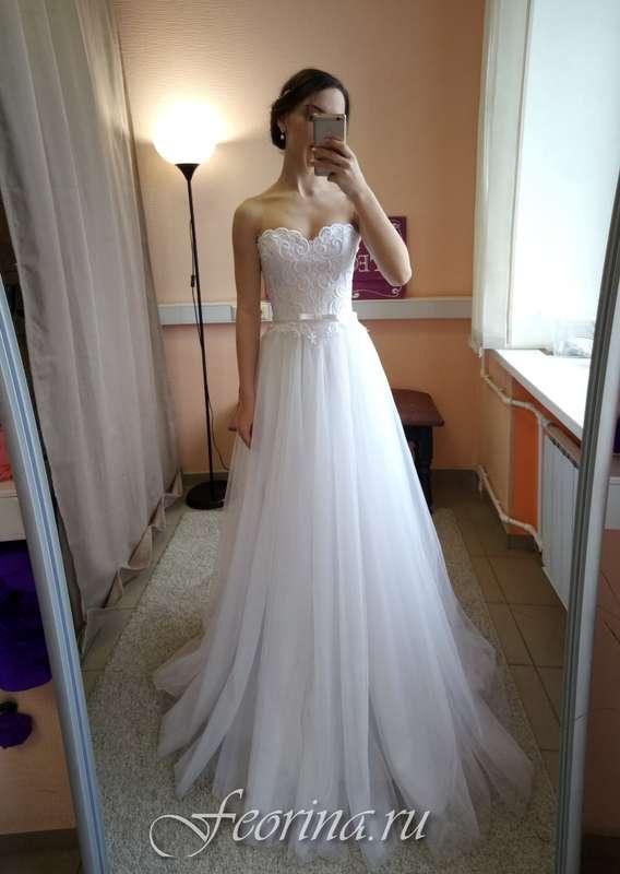 Свадебное платье: Элина Ткань:  кружево , фатин. Цвет: белый Цена: 19000 Это платье на сайте: - фото 17034808 Свадебный салон Feorina