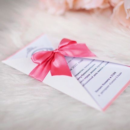 Приглашение на свадьбу с бантом, цена за 1 шт