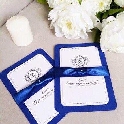Приглашение на свадьбу в синей гамме, цена за 1 шт