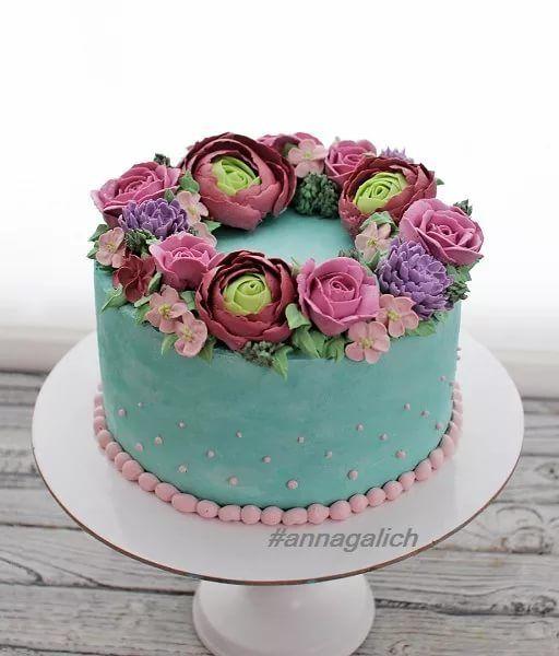Мк торт с живыми цветами