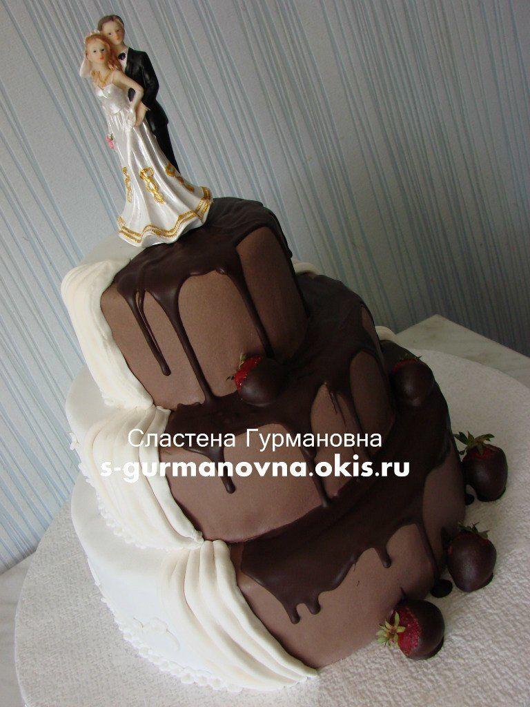 """Свадебный шоколадно-белый, 6,7кг, внутри супершоколадный и айриш-крем - фото 14552328 Кондитерская """"Торты от Сластёны Гурмановны"""""""