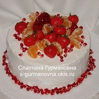 Голый торт с ягодами, 2,45кг, внутри медовый со сметанным кремом, черносливом и грецким орехом