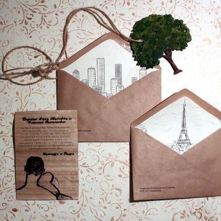 """Пригласительное с декорированным конвертом """"Смотрящие на город"""",цена за 1 шт"""