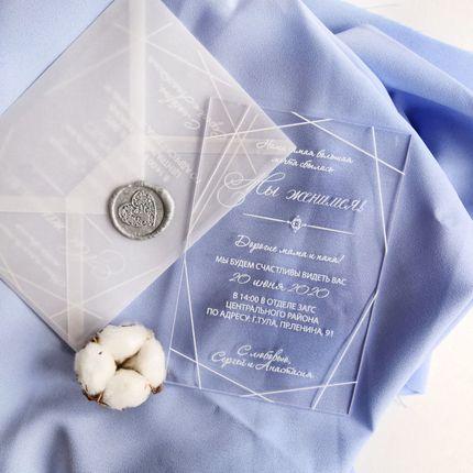 """Приглашения на оргстекле """"Мы женимся!"""""""