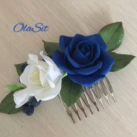 Гребень с цветами роза + фрезия