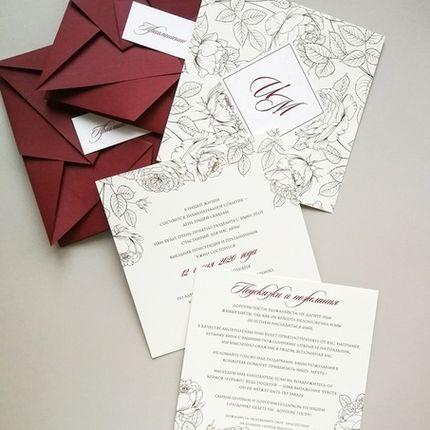 Комплект приглашений Розовый сад Оригами