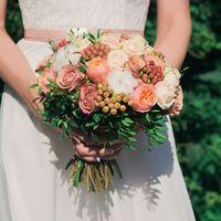 Нежный букет невесты в кофейных тонах