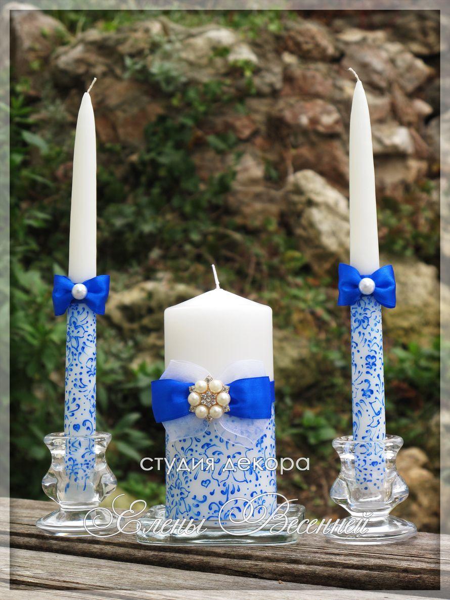 Свадебные свечи в синем цвете