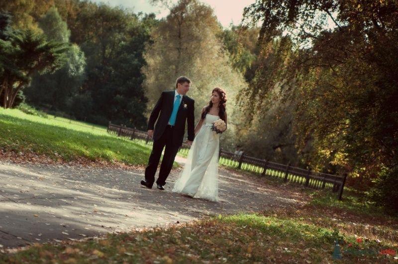 Жених и невеста, взявшись за руки,  идут по парку - фото 47516 Annuta