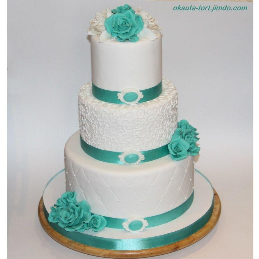 Бирюзовый торт на свадьбу фото