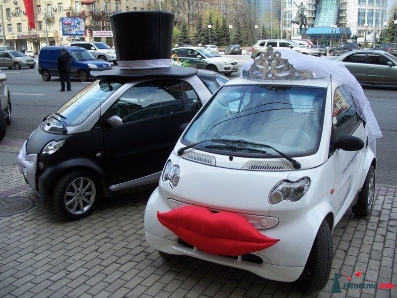 Свадебные авто молодожен в оригинальном стиле украшены черным цилиндром, фатой, красными губами и серебристой бабочкой. - фото 100854 Smartnaprokat - свадебный кортеж