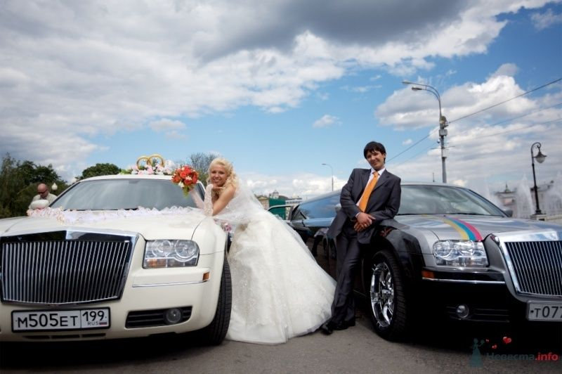 Жених и невеста стоят на улице возле машин - фото 42070 Тоська