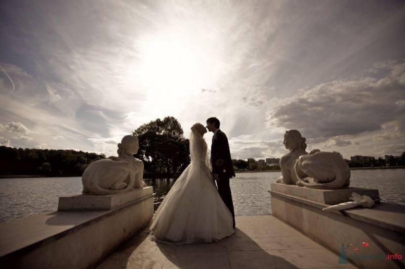 Жених и невеста стоят, прислонившись друг к другу, на фоне озера