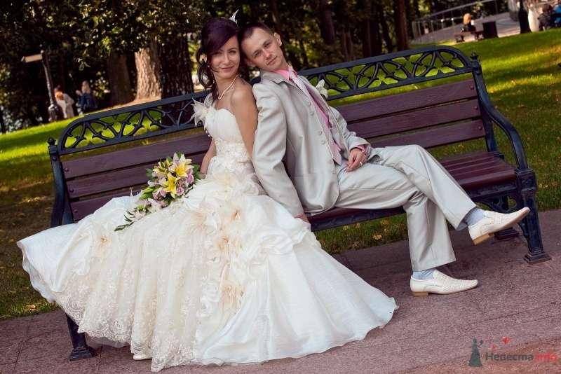 Жених и невеста, прислонившись друг к другу, сидят на фоне деревьев в парке - фото 62001 Sparkle