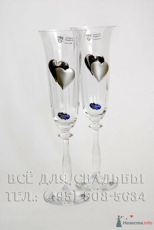 Бокалы с рисунком сердце из серебра 985 пробы, в  подарочной упаковке. Италия. Арт. 114-005