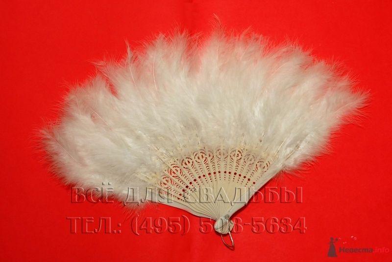 Арт.119-003 Веер перьевой, цвет белый