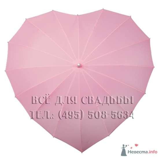 """Арт.120-012 Зонт-трость в форме сердца, цвет розовый, D-78 см, 16 спиц - фото 51616 """"Все для свадьбы"""" - салон аксессуаров и услуг"""