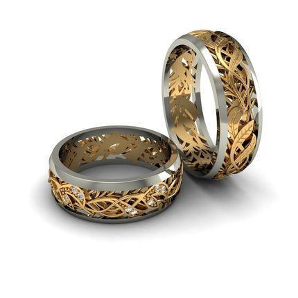 """Обручальные кольца с бриллиантами """"Лепесточки"""" (пара)"""