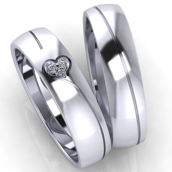"""Обручальные кольца """"Сердце с бриллиантами"""" (пара)"""