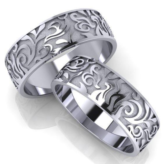 Обручальные кольца из белого золота, пескоструйная обработка
