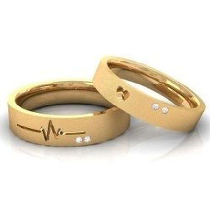 """Обручальные кольца с бриллиантами """"Сердце-Биение"""", пара"""
