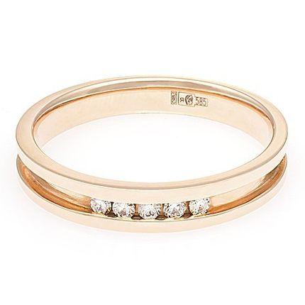 Прелестное обручальное кольцо с 5 бриллиантами. На заказ