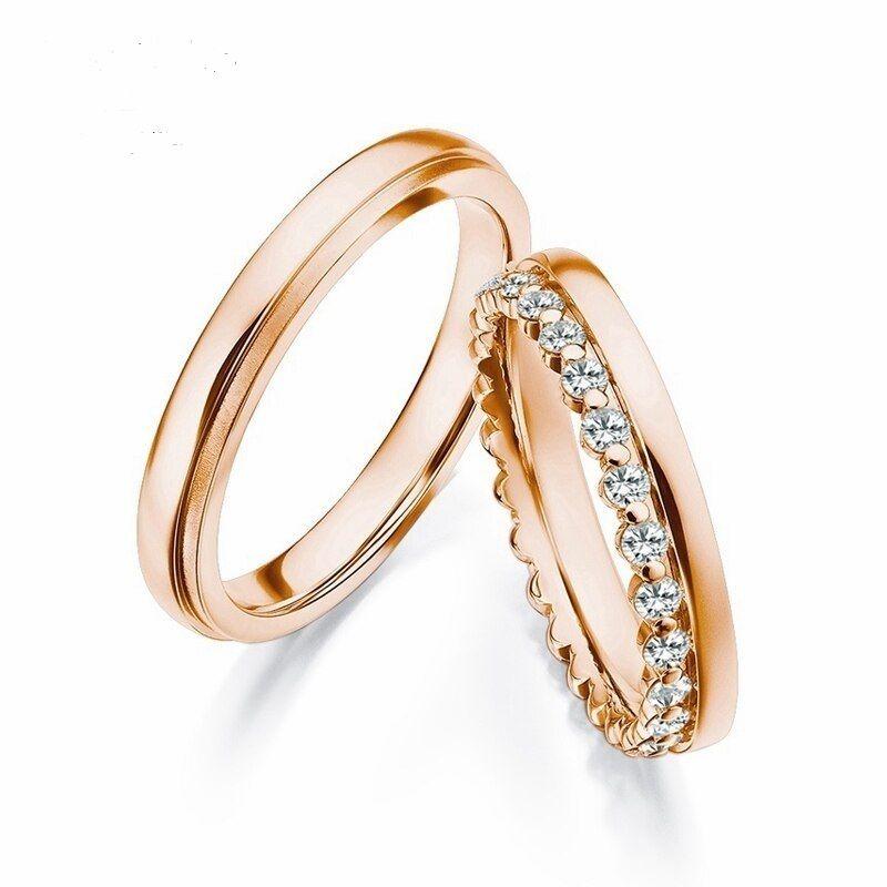 Оригинальные обручальные кольца с 25 бриллиантами. На заказ