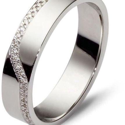 Обручальное кольцо с 28 бриллиантами. Белое золото. На заказ