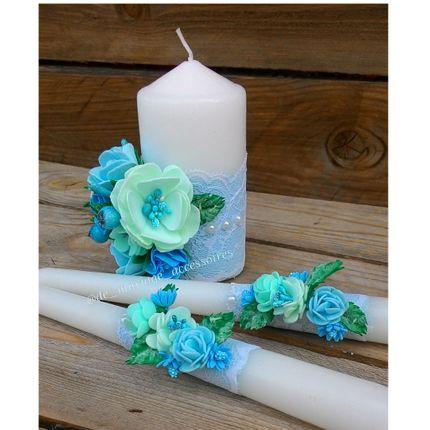 """Набор свечей """"Цветочная бирюза"""""""