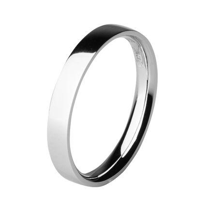 Обручальное кольцо из платины, плоское 3 мм