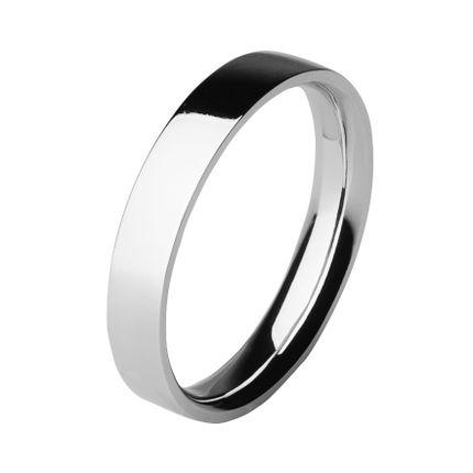 Обручальное кольцо из платины, плоское 4 мм