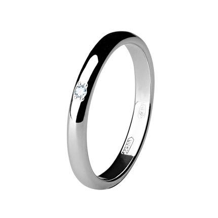 Обручальное кольцо из палладия с 1 бриллиантом шириной 2,5 мм