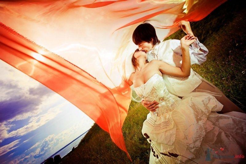 Жених и невеста целуются на красном фоне - фото 58014 yanechka