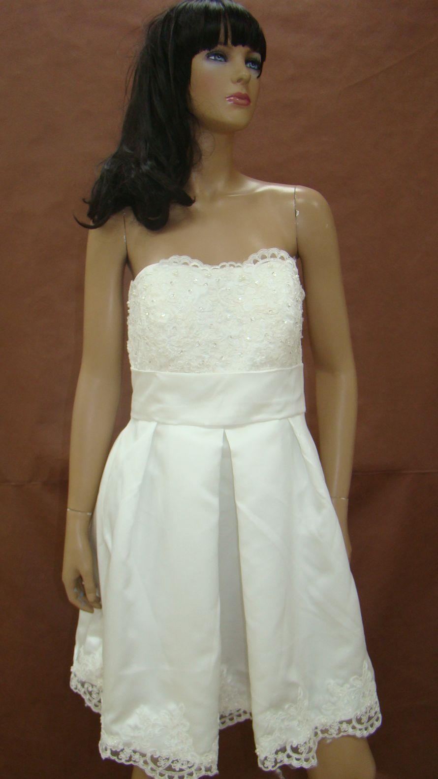 5a431a610eddb7c Короткое свадебное платье из кружева и атласа: Свадебный дисконт ...