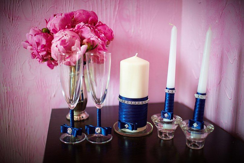 декор бокалов и свечей - фото 1524303 DY.Art - свадебное оформление