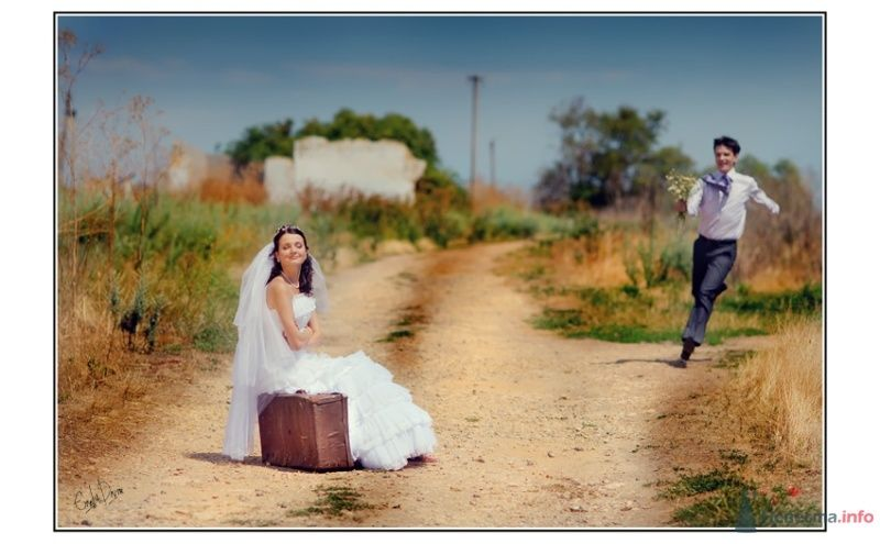 Фотосессия молодоженов на дороге с коричневым чемоданом