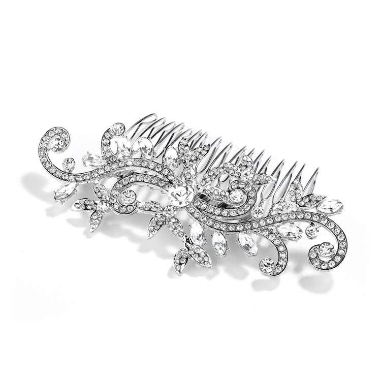 Универсальный симметричный гребень под белое золото, украшенный австрийскими кристаллами - фото 2311008 ARAMMU -интернет-магазин свадебных украшений