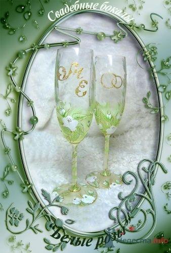 """Свадебные бокалы  """"Белые розы"""" - фото 2255 """"Свадебные бокалы"""" - аксессуары ручной работы"""
