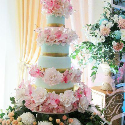 """Свадебный торт """"Пудровые розы"""", вес 22 кг"""
