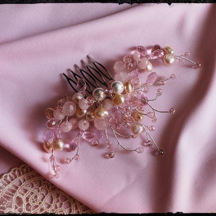 Свадебный гребень в цвете пудра