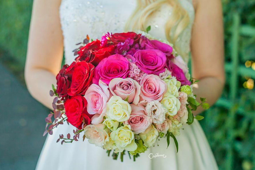 Букет с ярким омбре - фото 17590106 Соцветие - полевые цветы и сухоцветы