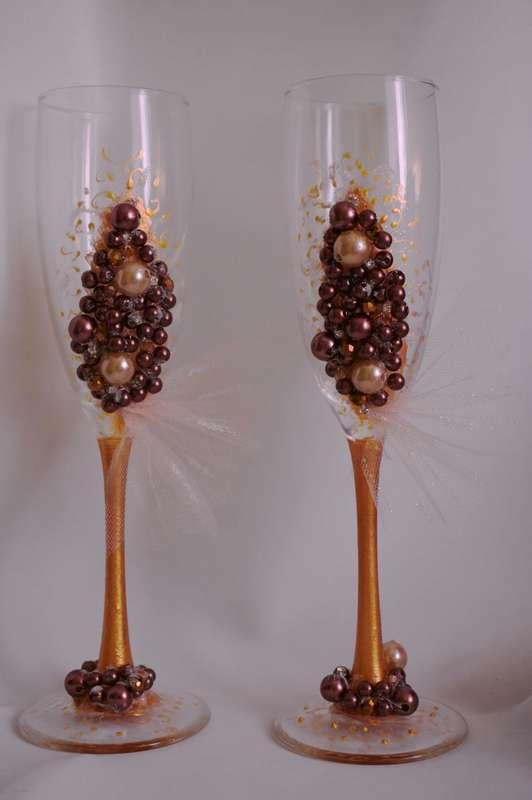 """Бокалы в шоколадном цвете. Стоимость 1500 руб. - фото 17394708 """"На одном дыхании"""" - мастерская аксессуаров"""