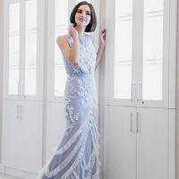 """Дизайнерское Платье """"Лагуна"""", цвет: серо-голубая дымка."""